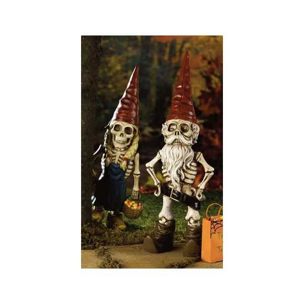 Skel-A-Gnomette and Skel-A-Gnome Garden Sculptures
