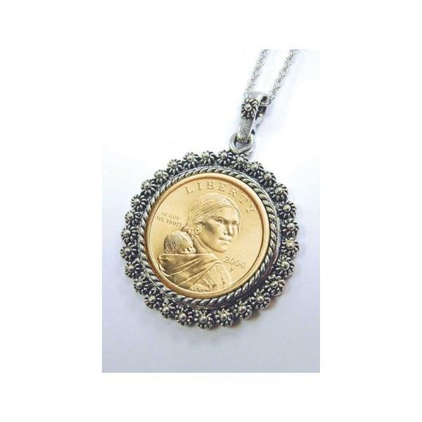 Sacagawea Dollar Pendant In Silvertone Bezel What On Earth Ch6322
