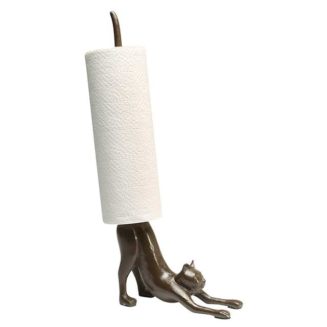 Cat Paper Towel Holder in Cast Iron at What on Earth CP5336