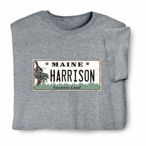 d9ae33927a3 Personalized State License Plate Shirts - Maine