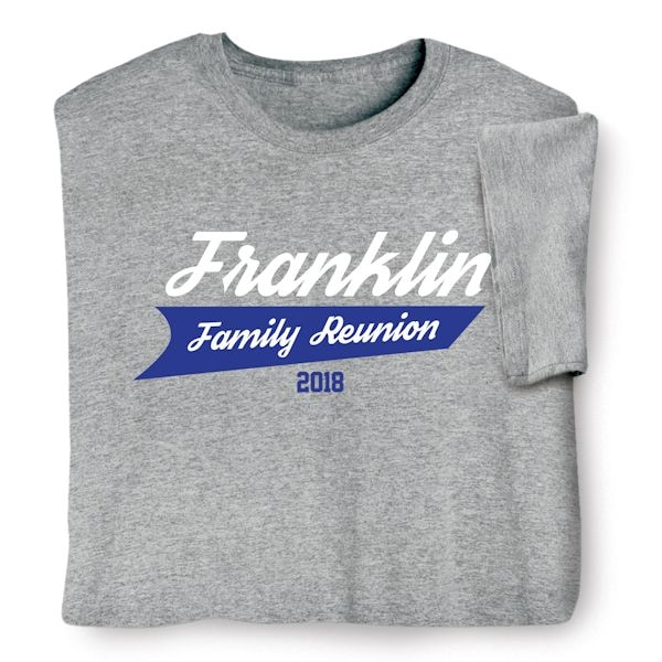 3cf00ae37 Personalized Your Name Athletic Logo Family Reunion Shirt | What on Earth |  CS4508