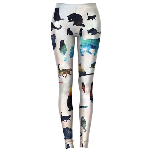 Colorful Galaxy Cat Leggings at What on Earth | CT8216