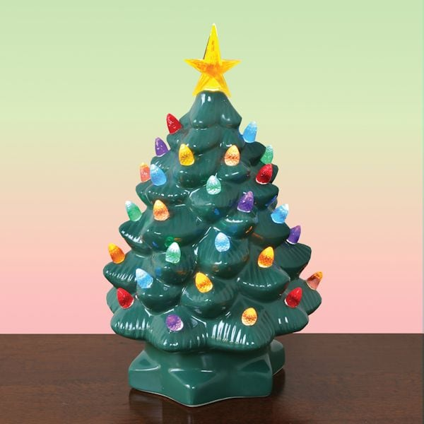 nostalgic ceramic lighted christmas tree 10 tall