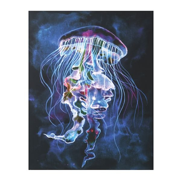 led light up jellyfish canvas wall art at what on earth cv8636. Black Bedroom Furniture Sets. Home Design Ideas