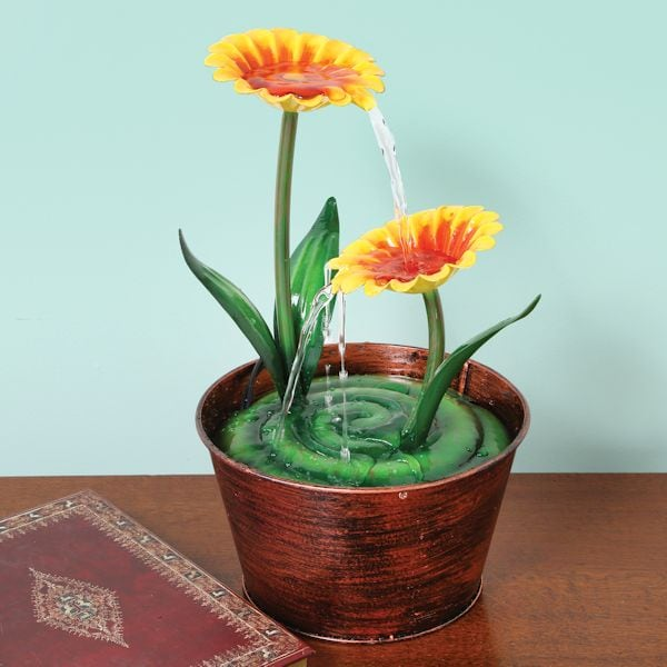 Small Flower Pot Water Fountain for Tabletop or Desk | 2 Reviews | 5 Stars | What on Earth | CW2896