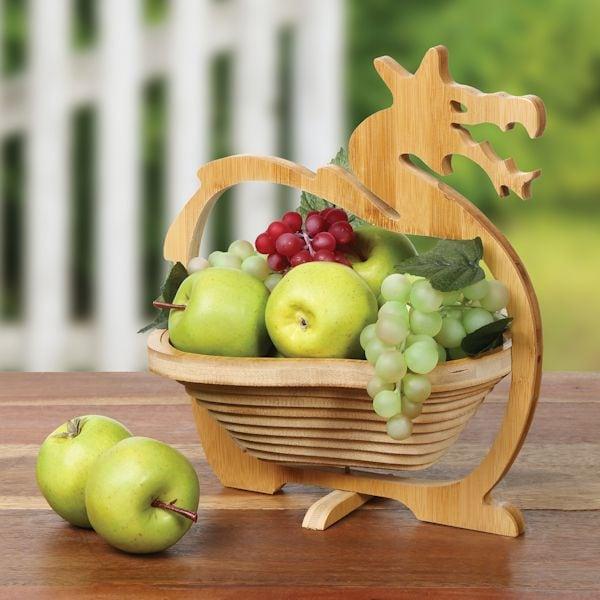Collapsible Folding Dragon Shaped Bamboo Fruit Bowl