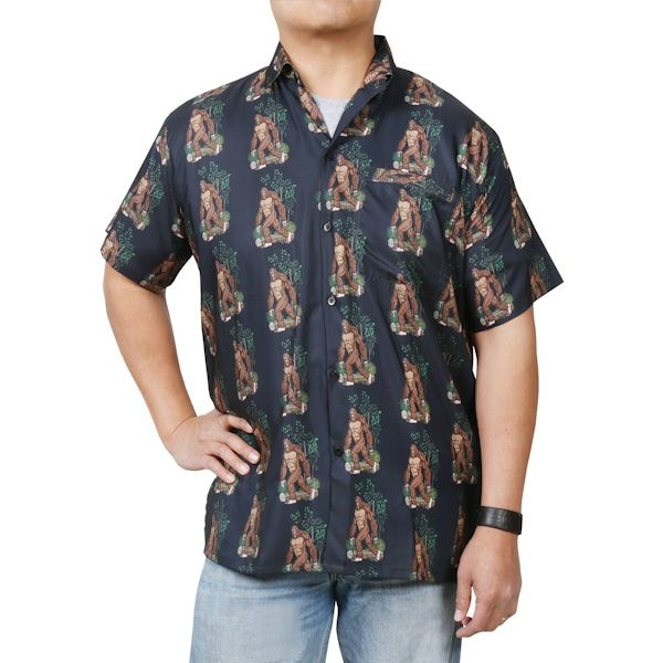 d0b690ae80 Men's Bigfoot Print Camp Shirt - Short Sleeve Button Down