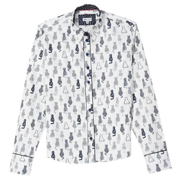 19b4f3495 Women's Cat Print Oxford Top - Black & White Button Down | 1 Review | 5  Stars | What on Earth | CX0066