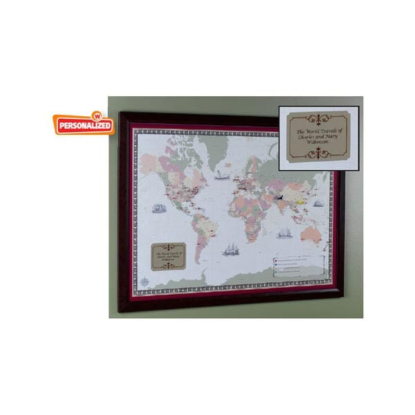 Unframed Personalized World Traveler Map at What on Earth – Personalized World Traveler Map Framed