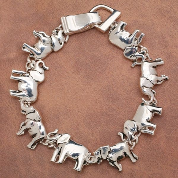 Women S Elephant Silver Plated Magnetic Charm Bracelet