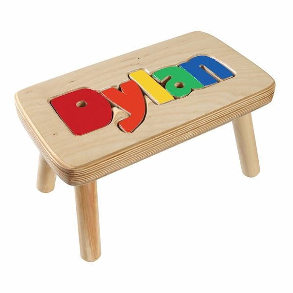 Remarkable Personalized Childrens Wooden Puzzle Step Stool 1 5 Letters Short Links Chair Design For Home Short Linksinfo
