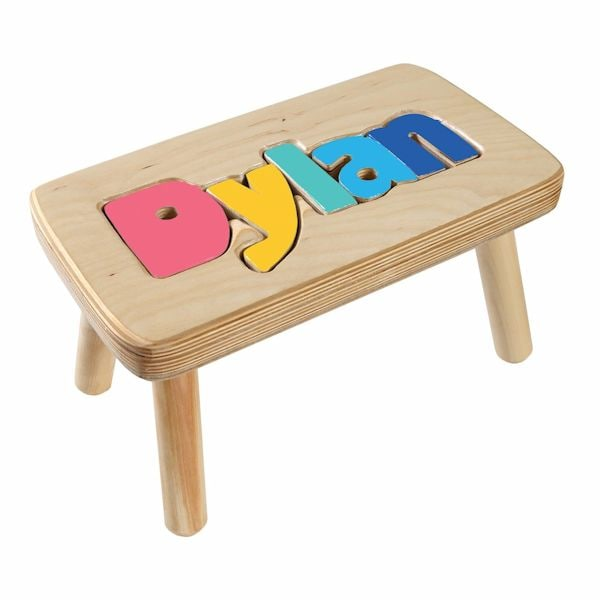 Amazing Personalized Childrens Wooden Puzzle Stool 6 8 Letters Gmtry Best Dining Table And Chair Ideas Images Gmtryco