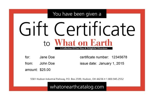 gift certificate u s p s what on earth gc9999