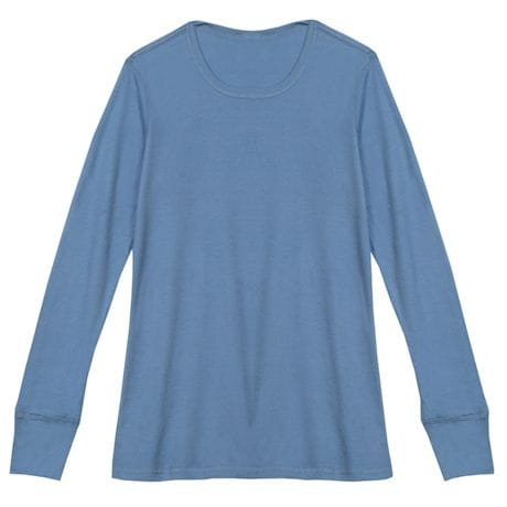 Blue Ladies Thermal T-Shirt