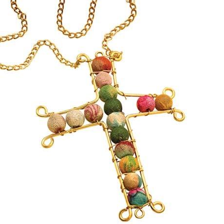 Sari Beads Cross Necklace