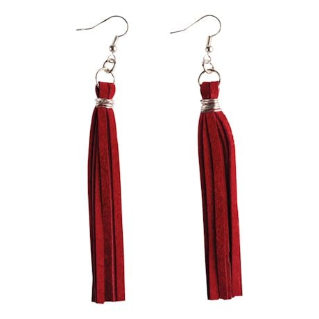 Upcycled Leather Tassel Earrings