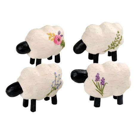 Four Sheep With Flowers Sculptures
