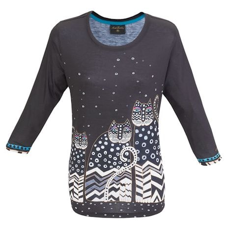 Laurel Burch Black And White Cats Top