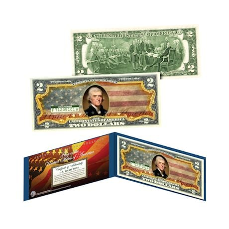 Colorized Two Dollar Bills