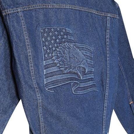 Embossed Denim Eagle On Flag Jacket
