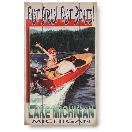 Personalized Fast Girls! Fast Boats! Lake Sign