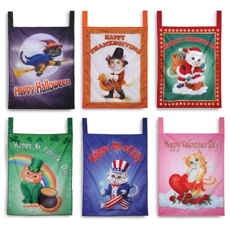 CAT HOLIDAY FLAGS SET (SET OF 6)