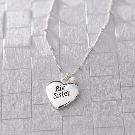 Big Sister Necklace with Heart Charm in Sterling Silver Made In USA