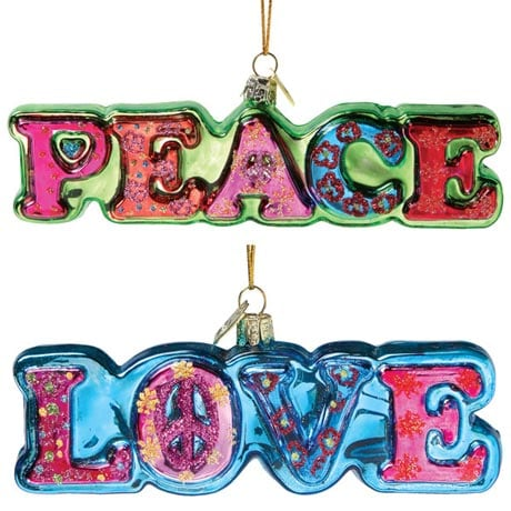 PEACE AND LOVE ORNAMENTS (SET OF 2)