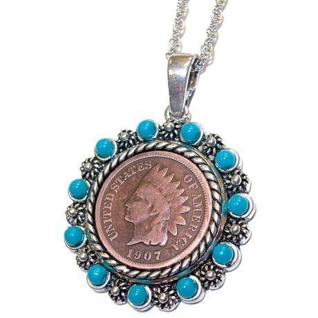Indian Head Penny Pendant With Real Turquoise Beads