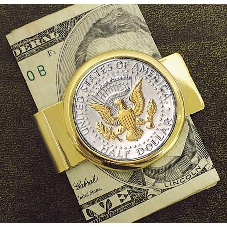 Selectively Gold-Layered Presidential Seal Jfk Half Dollar Goldtone Money Clip