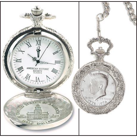 JFK Bicentennial Half Dollar Pocket Watch