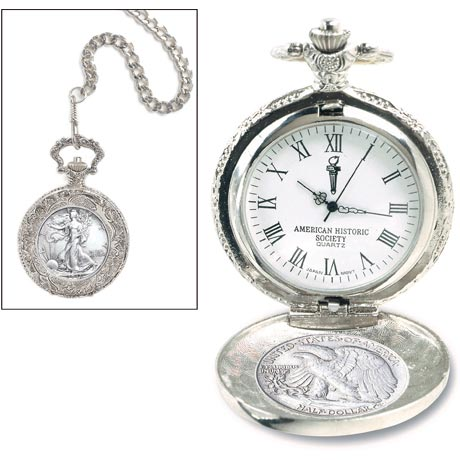 Silver Walking Liberty Half Dollar Pocket Watch
