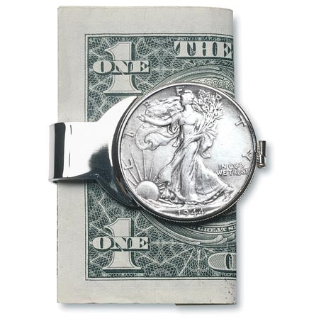 Silver Walking Liberty Half Dollar Money Clip