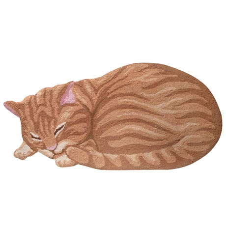 Tabby Cat Accent Rug Hand Hooked