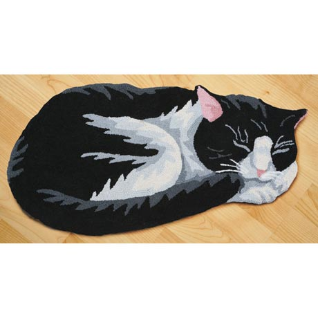Cat Accent Rug Black and White Hand Hooked