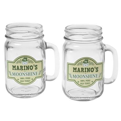 Personalized Moonshine Mason Jars Set of 2 Glasses