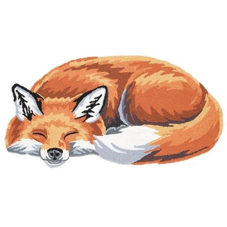 Sleeping Fox Accent Rug Hand Hooked