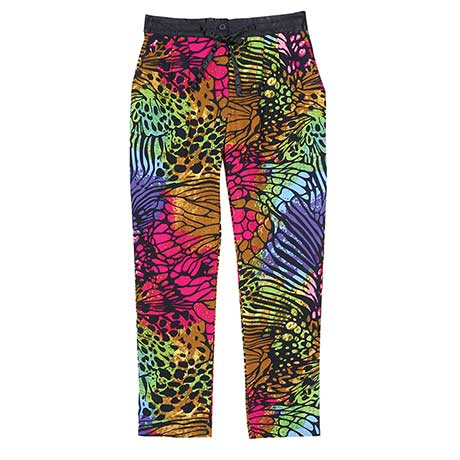 Multi Color Lounge Pants Psychedelic Wildside Design with Tie Waist