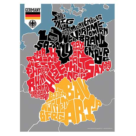 Hand Lettered Typograhic Heritage Framed Prints - Germany