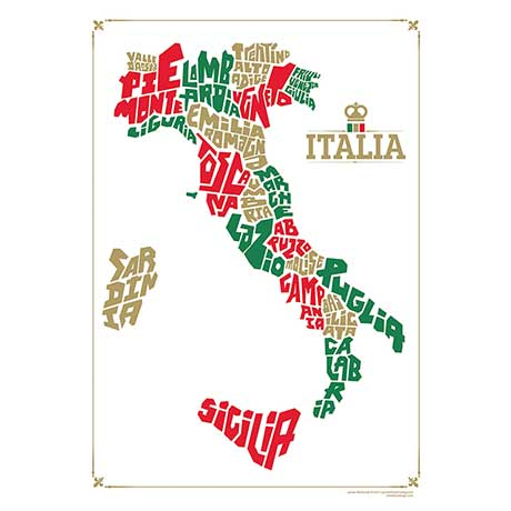 Hand Lettered Typograhic Heritage Framed Prints - Italy