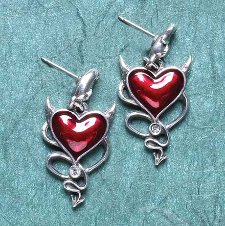 Devil Heart Earrings with Horns and Tail in Wicked Love Design