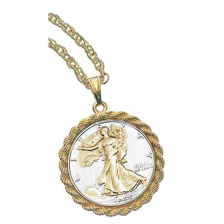 Silver Walking Liberty Half Dollar Pendant with 24k Gold-Layer