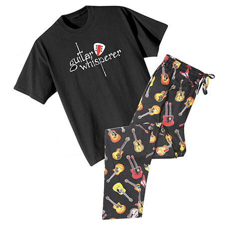 Guitar Sleep Set Cotton Mens Lounge Pants and Guitar Whisperer T-Shirt