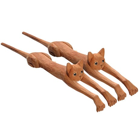 Set of 2 Cat Shaped Back Scratchers Hand-Carved From Basswood