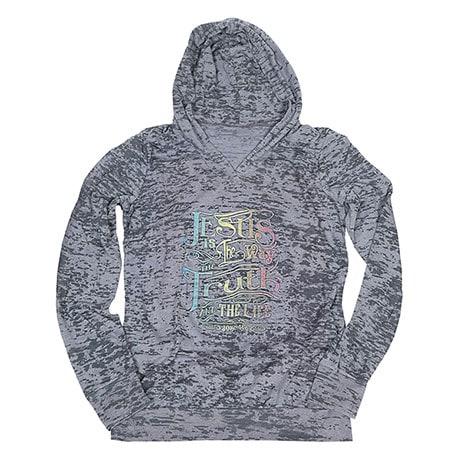 Ladies Faith Jesus Is The Way Burnout Hooded Sweatshirt