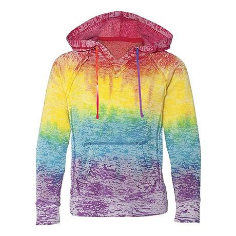 Tie Dye Rainbow Stripe Ladies Burnout Hooded Sweatshirts