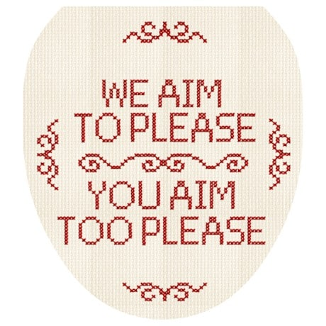 We Aim To Please So Please Aim Too Cross Stitch Toilet Tattoo
