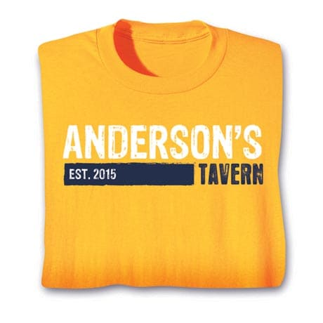 """Personalized """"Your Name & Date"""" Tavern Drinking Shirt"""