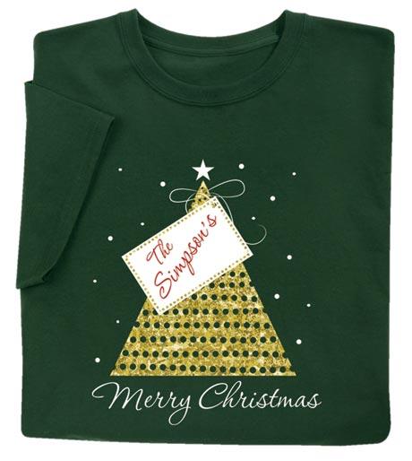 Customized 'Your Name' Gift Tag Merry Christmas Shirt