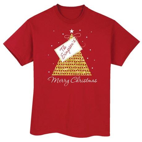 "Customized ""Your Name"" Gift Tag Merry Christmas Shirt"